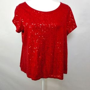 Relativity Red Sequin Top Size 1X